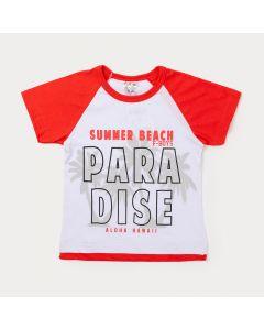 Camiseta Infantil Masculina Branca e Vermelho Estampada