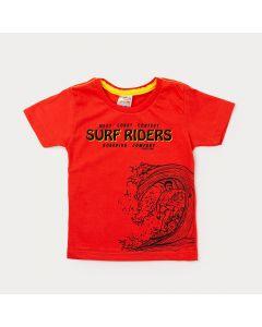 Camiseta Masculina Infantil Vermelha Estampada