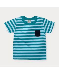 Camiseta Infantil Masculina Verde com Listras e Aplique de bolso