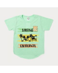Camiseta Infantil Masculina Verde Estampada