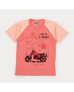 Camiseta de Verão Laranja Moto Infantil Masculina