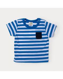 Camiseta Bebê Masculino Azul com listras Brancas e Aplique de Bolso