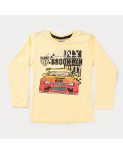 Camiseta Manga Longa Amarela Carros Infantil Masculina