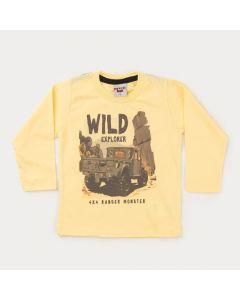 Camiseta Manga Longa Amarela Estampada para Menino