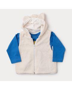 Camiseta Manga Longa Azul Estampada Bebê Menino com Colete de Pelo