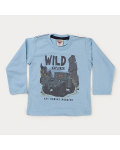 Camiseta Manga Longa Azul Estampada para Menino