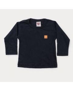 Camiseta Manga Longa Básica Preta para Bebê Menino