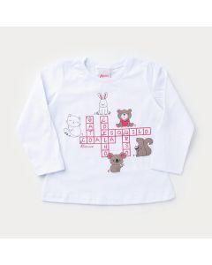 Camiseta de Algodão Branco Bichinhos para Bebê Menina