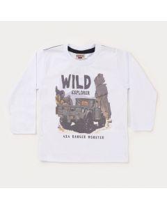 Camiseta Manga Longa Branca Estampada para Menino