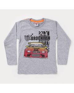 Camiseta Manga Longa Cinza Carros Infantil Masculina