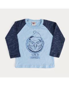 Camiseta em Algodão Azul e Marinho para Menino Urso