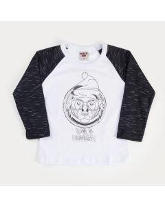 Camiseta em Meia Malha Branca com Preto para Menino Urso