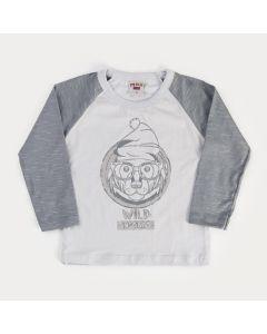 Camiseta Básica Manga Longa para Menino Cinza Urso