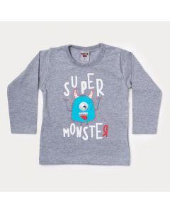 Camiseta Manga Longa Infantil Masculina Cinza Monstro
