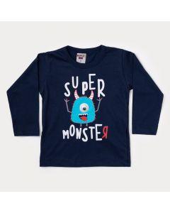 Camiseta Manga Longa Infantil Masculina Marinho Monstro