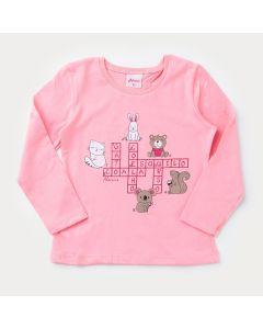 Camiseta de Algodão Rosa Bichinhos para Menina Manga Longa