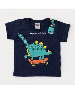 Camiseta Verão Bebê Menino Dinossauro Marinho