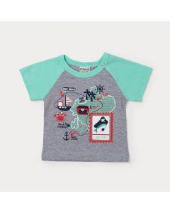 Camiseta para Bebê Menino Cinza com Verde Estampada de Mapa
