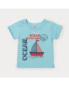 Camiseta Bebê Menino Verde Claro com Estampa de Barco