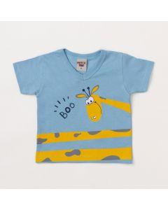 Camiseta Bebê Masculina Azul Girafa