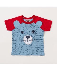 Camiseta Bebê Masculina Azul Urso