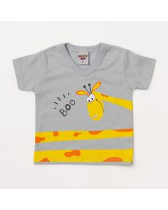 Camiseta Bebê Masculina Cinza Claro Girafa