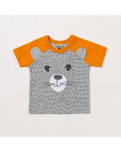 Camiseta Bebê Masculina Cinza Urso