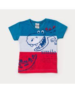 Camiseta de Bebê Menino Azul com Estampa de Dinossauro