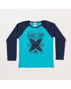 Camiseta Infantil Masculina Azul com Marinho e Proteção UV