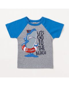 Camiseta Infantil Masculina Cinza Tubarão