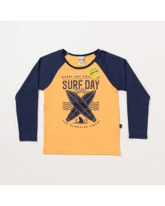 Camiseta Infantil Masculina Salmão com Marinho e Proteção UV
