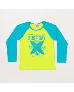 Camiseta Infantil Masculina Verde com Azul e Proteção UV