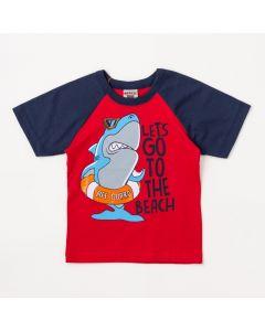 Camiseta Infantil Masculina Vermelho Tubarão