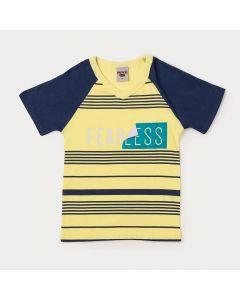 Camiseta Masculina Infantil Amarela com Estampa de Listras