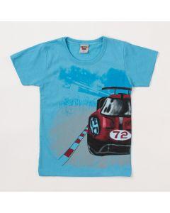 Camiseta Masculina Infantil Azul com Estampa de Carro