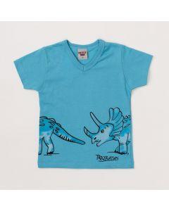 Camiseta Masculina Infantil Azul com Estampa de Dinossauro