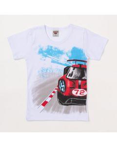 Camiseta Masculina Infantil Branca Estampa de Carro