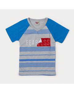 Camiseta Masculina Infantil Cinza com Estampa de Listras
