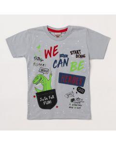 Camiseta Masculina Infantil Cinza Estampa de Dinossauro