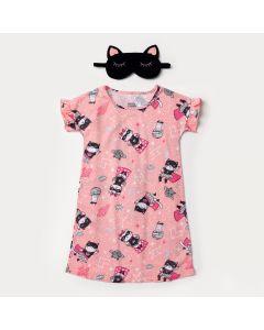 Camisola Infantil Feminina Rosa Gato com Máscara de Dormir