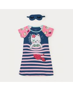 Camisola Infantil Feminina Listrada Marinho Gato com Máscara de Dormir