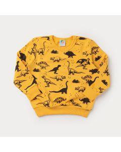 Casaco de Moletom Amarelo Dinossauro para Menino