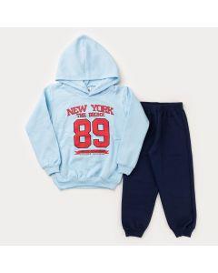 Conjunto de Frio para Menino Casaco Azul Estampado com Capuz e Calça Marinho