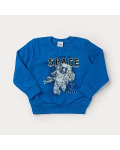Casaco de Moletom Azul Astronauta para Menino