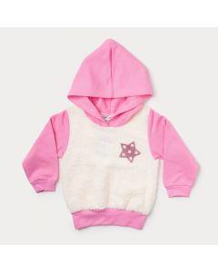 Casaco Rosa Bebê Menina com Capuz e Aplique de Pelo