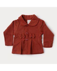 Casaco em Soft Vermelho para Bebê Menina com Gola