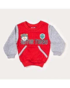 Casaco Vermelho para Bebê Menino com Estampa de Raposa
