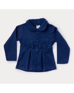 Casaco Infantil Feminino Marinho em Soft com Laço
