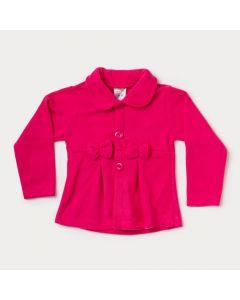 Casaco Infantil Feminino Pink em Soft com Laço