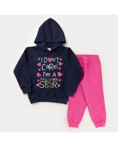 Conjunto de Frio Calça Pink e Casaco Marinho com Capuz Coração para Menina